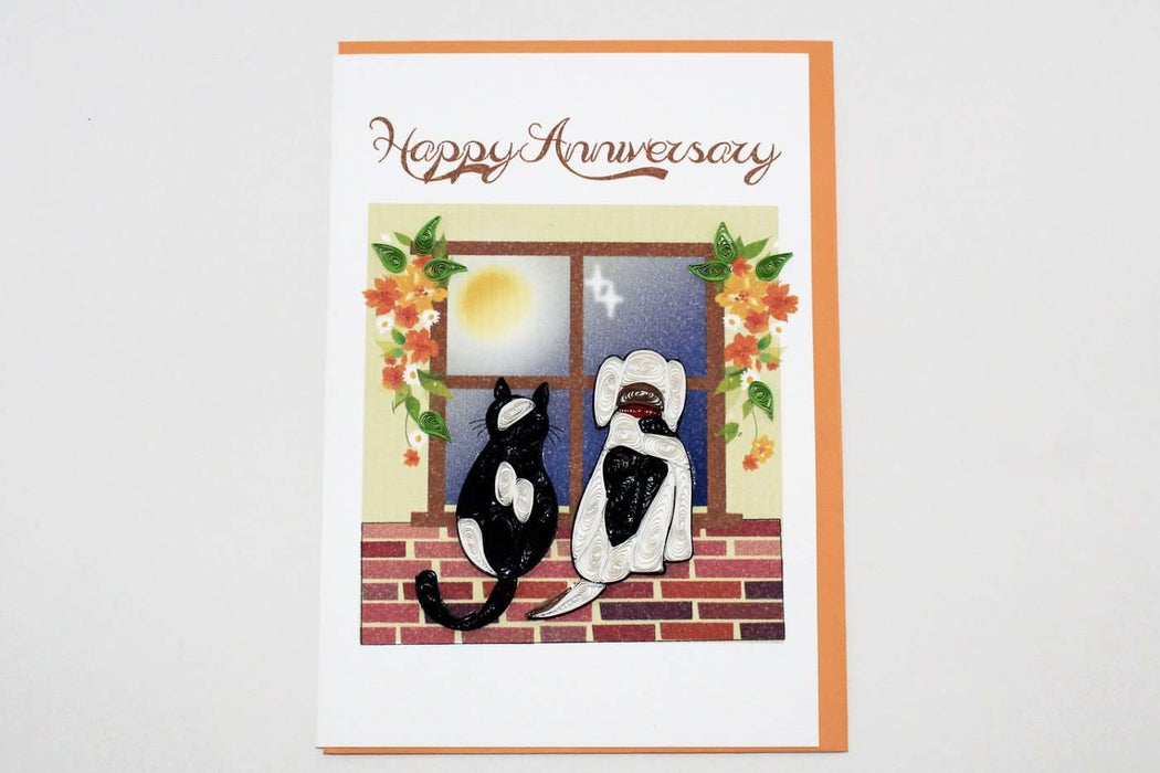 Happy Anniversary Cat & Dog Quilling Card - UViet Store