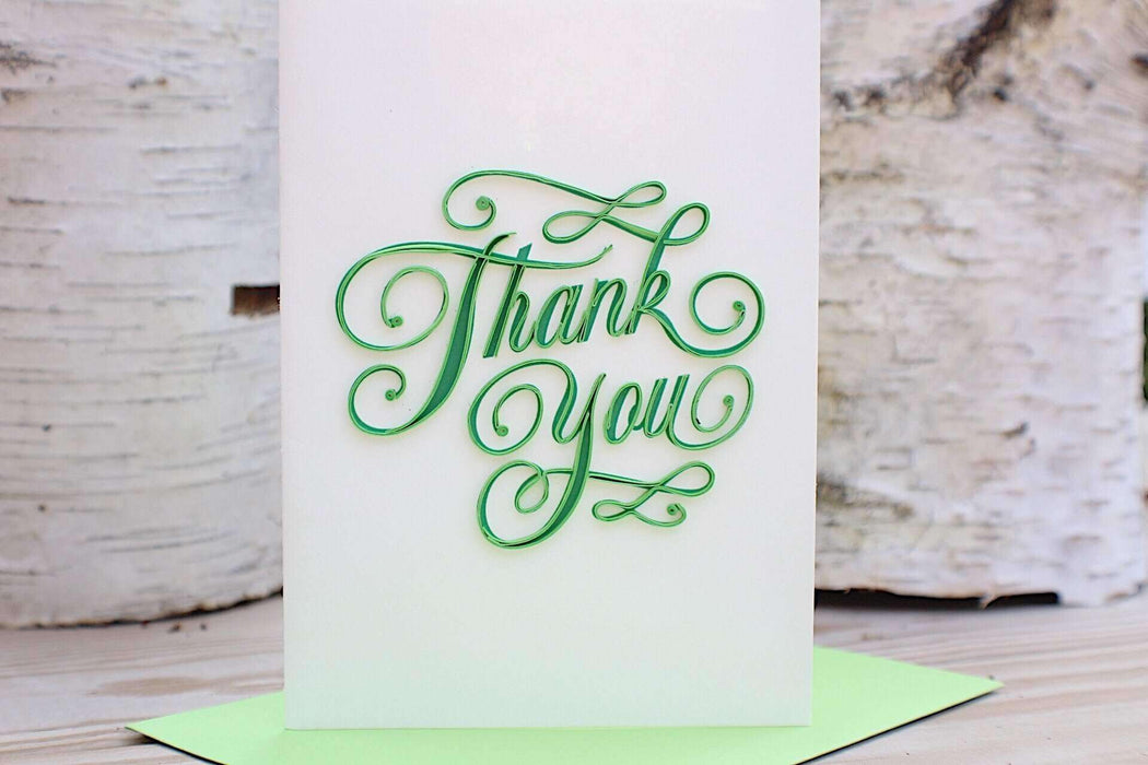 Thank You (Green Text) - Mini Quilling Card - UViet Store