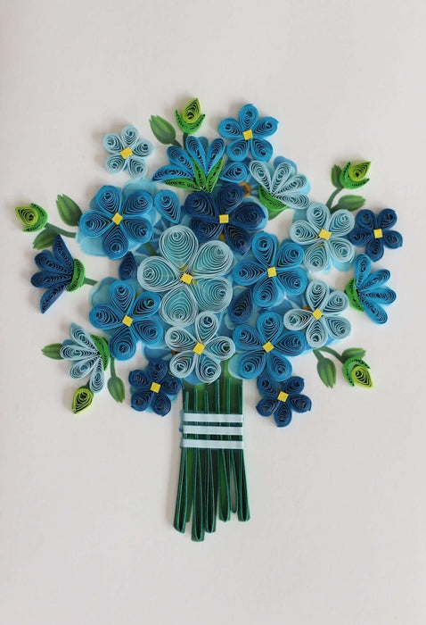 Blue Bouquet (Mini) Quilling Card - UViet Store