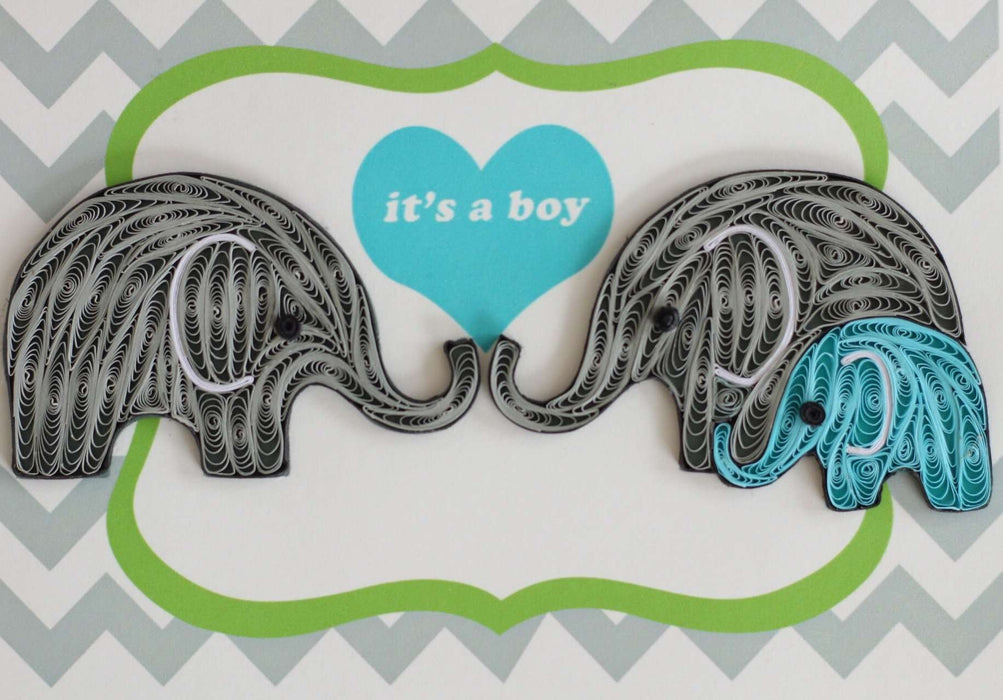It's a Boy Elephant Quilling Card - UViet Store