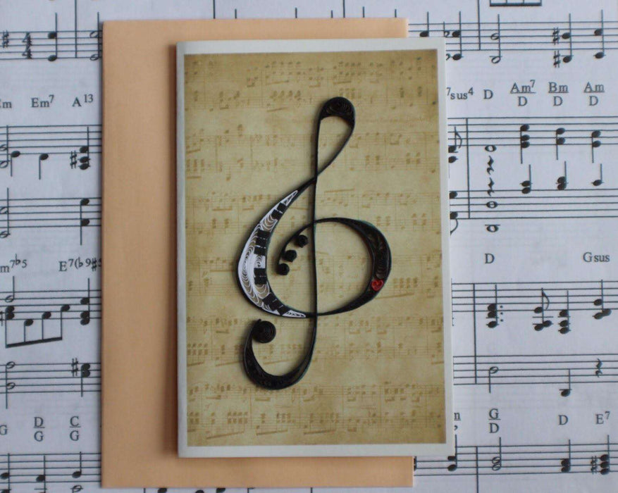 Treble Clef (Mini) Quilling Card - UViet Store