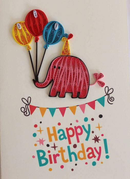Happy Birthday Elephant Quilling Card - UViet Store