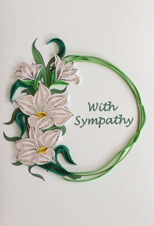 Sympathy - White Orchids Quilling Card - UViet Store
