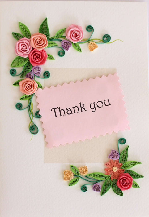 Thank you - Rose Border Quilling Card - UViet Store