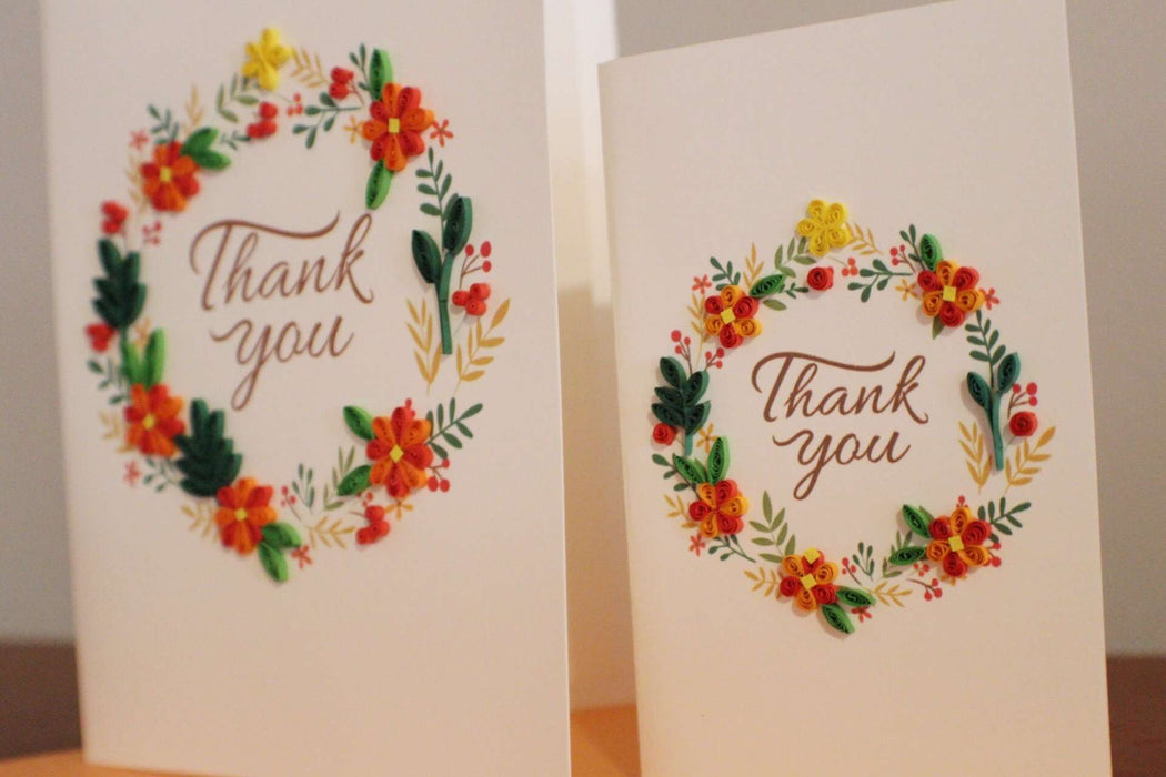 Thank You - Orange Floral Wreath (Mini) Quilling Card - UViet Store