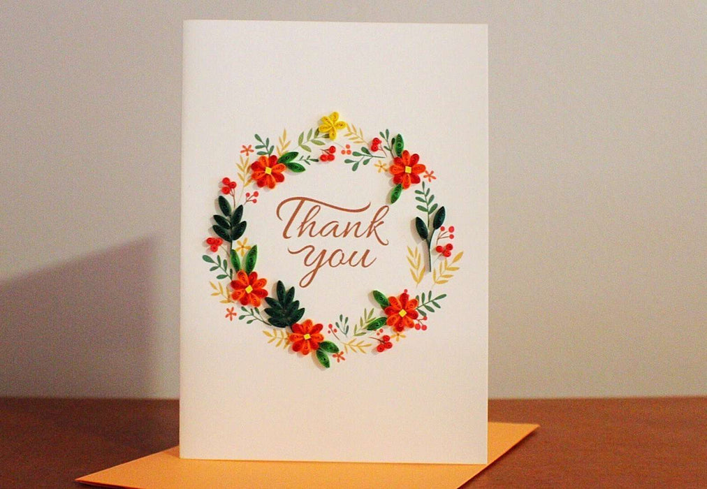 Thank You - Orange Floral Wreath Quilling Card - UViet Store
