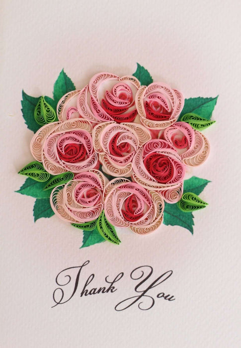 Thank You Rose Bouquet Quilling Card - UViet Store
