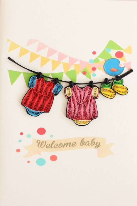 Welcome Baby Girl Quilling Card - UViet Store