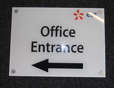 Acrylic sign with stand-off fixings by SK Signs and Labels