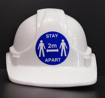 hard hat stickers keep 2m apart