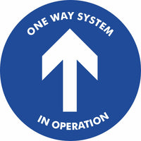 Blue One way system in operation Floor Sign