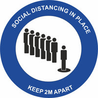 Blue Social Distancing in place Keep 2m apart Floor Sign