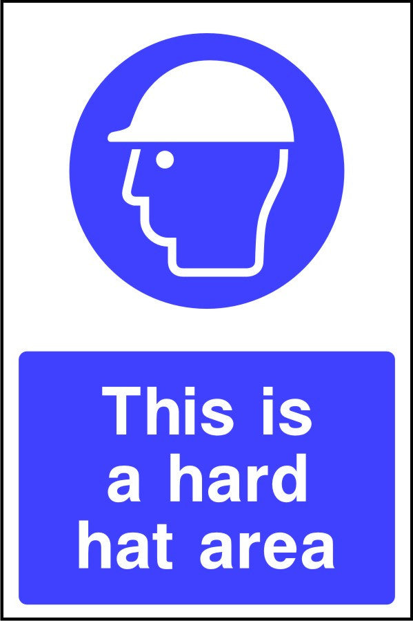 This is a hard hat area safety sign