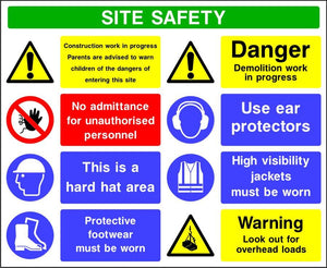 Site safety multi message demolition in progress sign