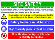 Site safety construction work in progress multi message sign