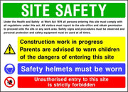 Site safety parental advice and ppe multi message sign