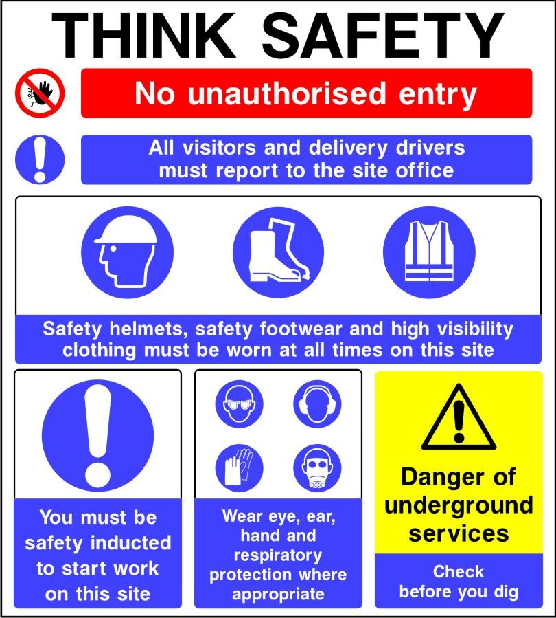 Think safety multi message site sign