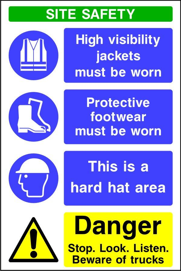 Site safety beware of trucks and ppe sign