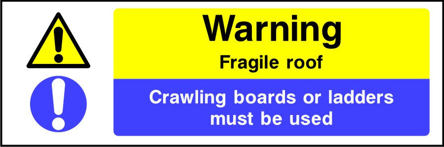 Fragile roof crawling boards or ladders must be used sign
