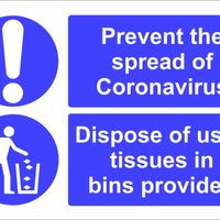 Coronavirus Dispose of used tissues safety sign