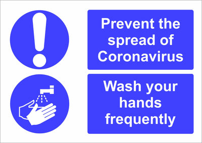 Prevent Coronavirus Wash Your Hands safety sign