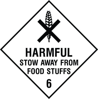 Harmful stow away from food diamond sign