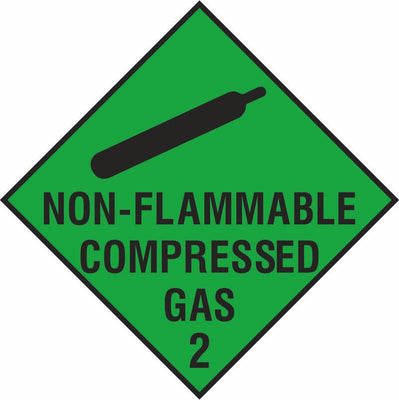 Non-flammable compressed gas diamond sign