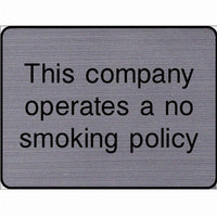 Engraved This company operates a no smoking policy sign