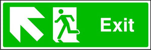 Exit Running Man and Arrow Up Left Sign