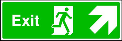 Exit Running Man and Arrow Up Right Sign