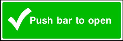 Push Bar To Open Fire Exit Sign