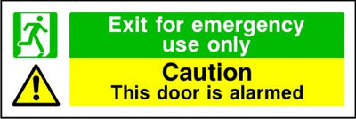 Exit For Emergency Use Only Caution This Door Is Alarmed Sign