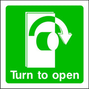 Turn Handle Right To Open Emergency Escape Sign