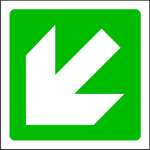 Fire Arrow Down Left Exit Sign