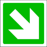 Fire Arrow Down Right Exit Sign