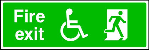 DDA Fire Exit with Wheelchair and Running Man Sign