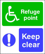 Refuge Point Keep Clear sign