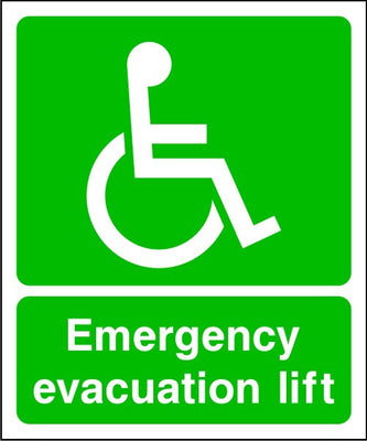 DDA Emergency Evacuation Lift Sign