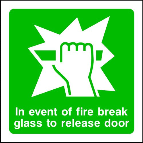 In Event of Fire Break Glass To Release Door Sign