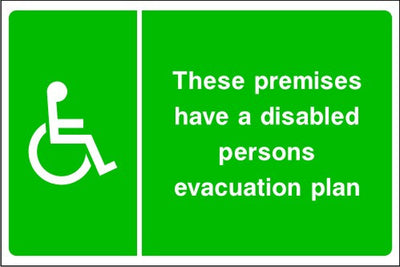 Disabled Persons Evacuation Plan Sign