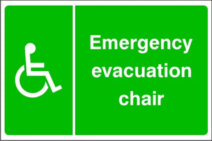 Disabled Emergency Evacuation Chair Sign