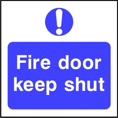 Fire door keep shut safety sign