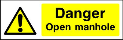 Danger Open manhole safety sign