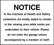Viewing area safety notice sign