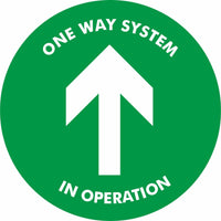 Green One way system in operation Floor Sign