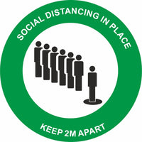 Green Social Distancing in place Keep 2m apart Floor Sign
