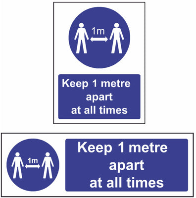 Keep 1 metre apart at all times safety sign