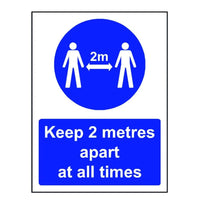 2m apart social distancing safety sign