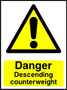 Danger Descending counterweight sign