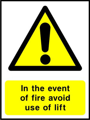 In the event of fire avoid use of this lift sign